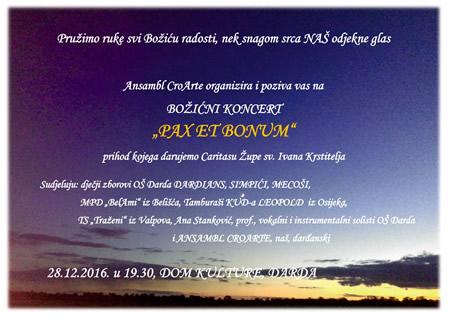Humanitarni Božićni koncert u Dardi